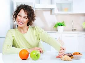 woman resisting fatty food